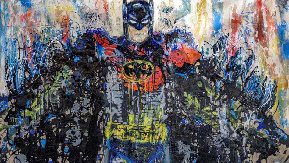"""צילום יח""""צ מתוך תערוכת ציורים של אומני רחוב לרגל 80 שנה לבאטמן"""